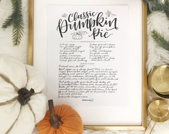 Pumpkin Pie Recipe Print
