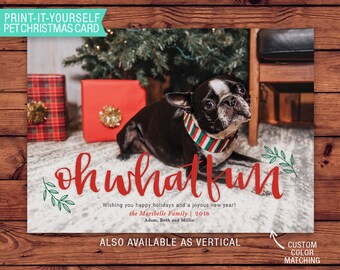 Pet Lover Printable Christmas Card - Oh What Fun