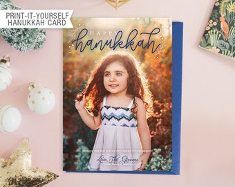 Printable Photo Hanukkah Card - Happy Hanukkah