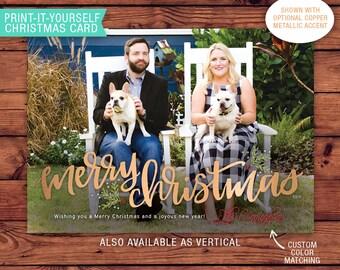 Printable Christmas Card - Merry Christmas Calligraphy