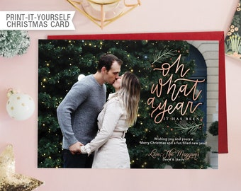 Printable Photo Christmas Card - Oh What a Year