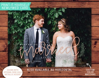 Newlywed Printable Photo Christmas Card - Married Little Christmas