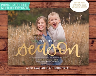 Printable Multi-Holiday Card - Tis The Season