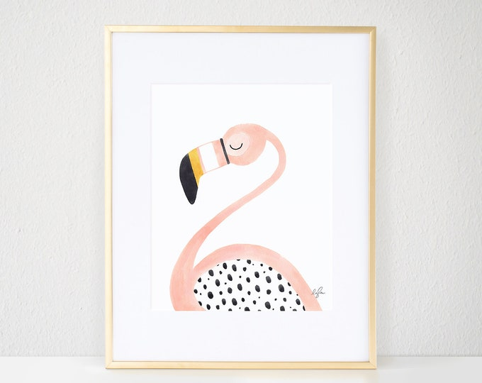 Featured listing image: Pinky the Flamingo Print
