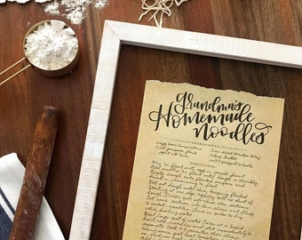 Handwritten Recipe Print