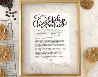 Handwritten Recipe Print, Custom Calligraphy Written Recipe, Hand Lettered Recipe, Handlettering, Recipe Print