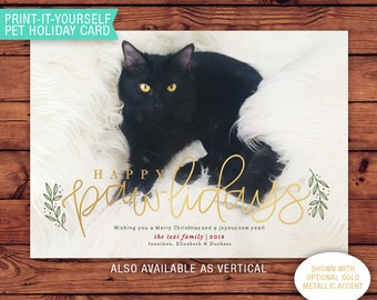 Pet Lover Printable Christmas Card - Happy Pawlidays
