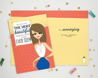 Expecting Card - Beautiful Pregnant Woman
