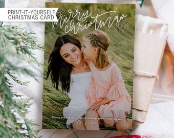 Printable Photo Christmas Card - Merry Christmas Monoline Calligraphy