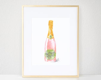 Fashion Print, Blush Champagne - Watercolor, Champagne