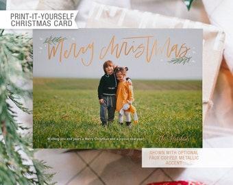 Printable Photo Christmas Card - Merry Christmas Modern Calligraphy