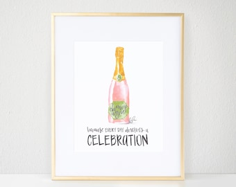 Fashion Print, Champagne - Watercolor, Champagne Celebration