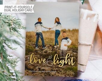 Printable Photo Christmas Card - Love & Light
