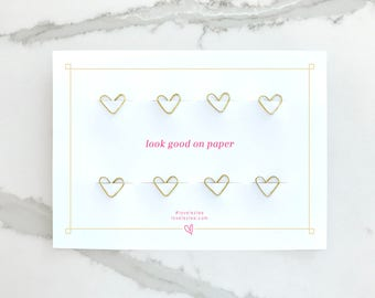 CLEARANCE Gold Heart Paper Clips