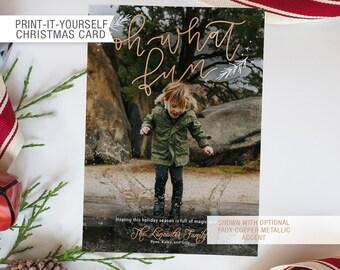 Printable Photo Christmas Card - Oh What Fun