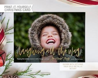Printable Photo Christmas Card - Laughing All the Way