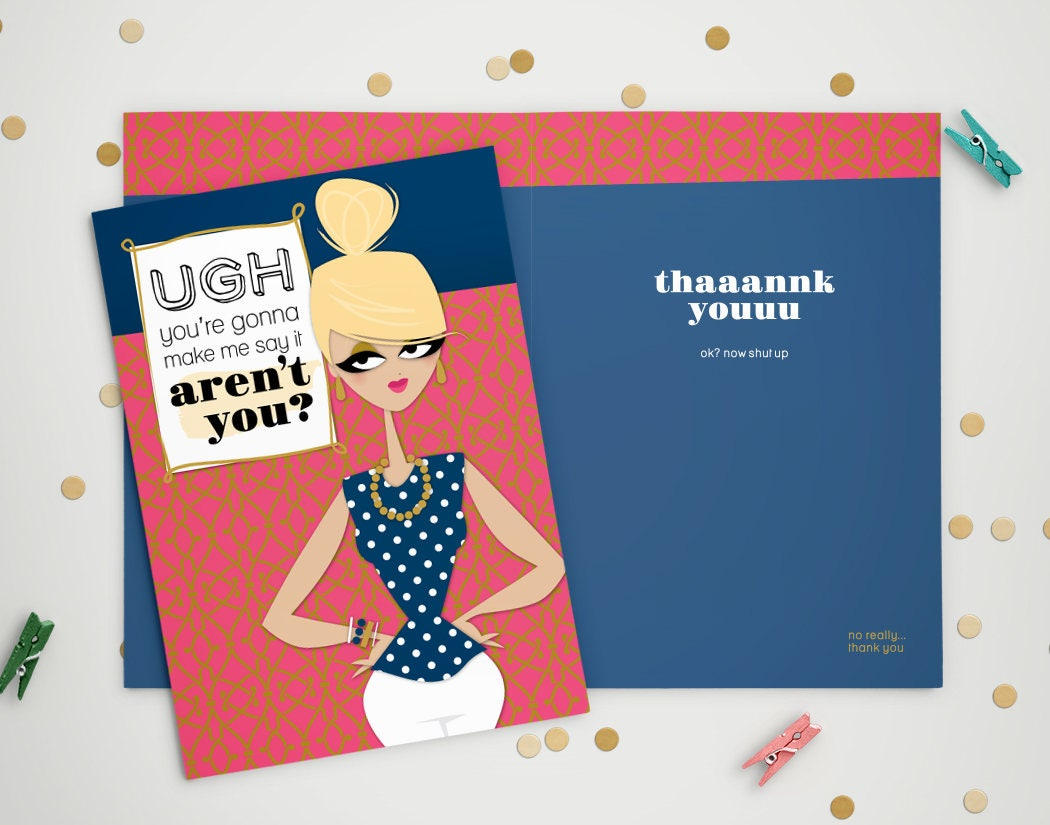 Funny Thank You Card Hilarious Card Sarcastic Greeting Card Etsy