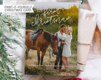 Printable Photo Christmas Card - Our First Christmas