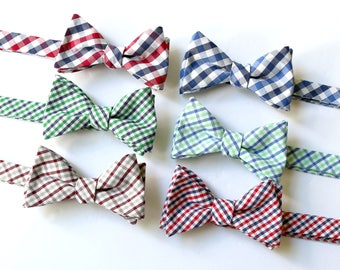 Bow Tie~Mens Self Tie Bow Tie~Mens Pre Tied~Anniversary Gift~Wedding Tie~HoBo Ties~Cotton Bow Tie~Mens Gift~Wedding~Tattersall Bow Tie