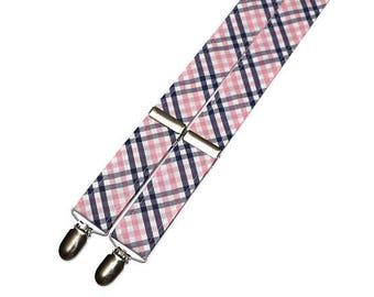 c0217c4cedf8 Pink & Navy Tattersall Suspenders~Groomsmen Accessory~HoBo Ties~Groom~Wedding  Suspenders~Mens suspenders~Wedding Accessory~