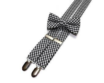 Boys Black Check Suspenders~Wedding Suspenders~Wedding Accessory~Boys Suspender Set~Gingham~Matching Bow Tie and Suspenders