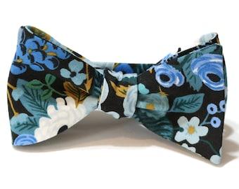 Blue Garden Party Floral Bow Tie~Mens Self Tie Bow Tie~Mens Bow Tie~Flower Tie~Cotton Tie~Wedding Tie~Floral Tie~Dusty Blue~Sage~Large