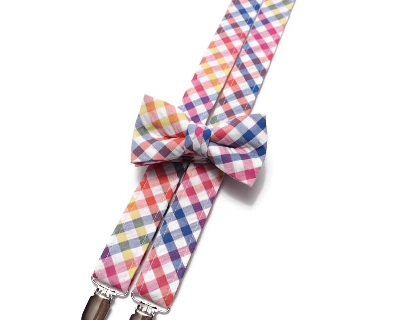 Boys Plaid Seersucker Suspenders~Blue~Pink~Yellow~Orange~Easter Seersucker~Gingham Check Suspenders~Seersucker Bow Tie~Boys Suspender Set