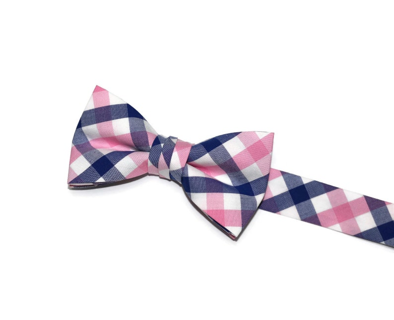 d35be19a2612 Blue and Pink Tattersall Boys Bow TieRoyal Blue Boys Tie-Boys | Etsy