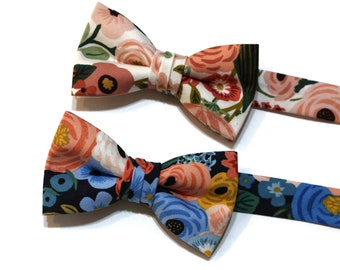 Boys Garden Party Floral Bow Ties~Boys Bow Tie~Cotton Bow Tie~Flower Bow Tie~Church Tie~WeddingTie~Ring Bearer~Navy~Rose~Pink~Coral~Sage