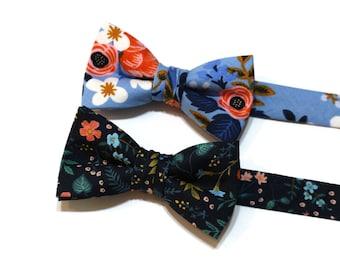 Boys Floral Bow Ties~Boys Bow Tie~Cotton Bow Tie~Flower Bow Tie~Church Tie~WeddingTie~Ring Bearer~Navy Wildwood~Blue~Periwinkle Birch
