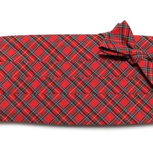 Mens Cummerbund Set~Red /& Blue Tattersall Check Cummerbund~Mens Formal Wear~Groomsmen~Groom~Self Tie Bow~Men Gift~Wedding~Formal~Check Plaid