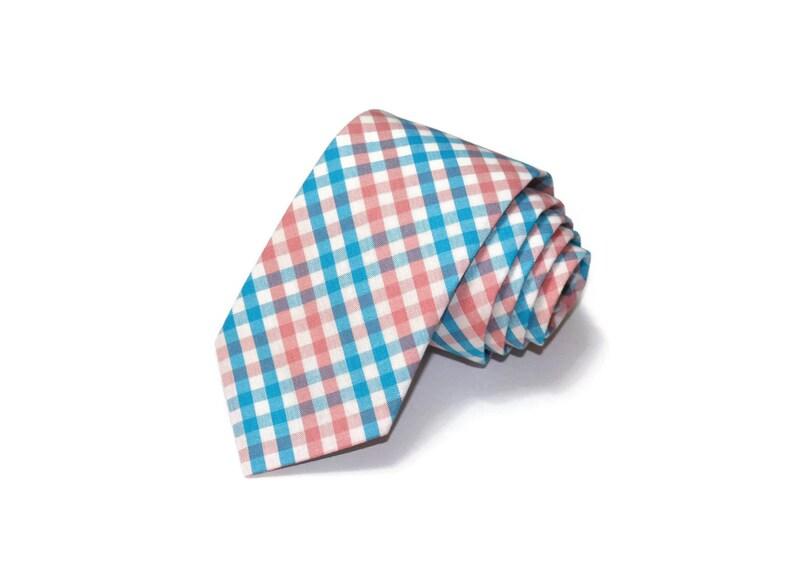 6c1b36711aae Turquoise & Coral Tattersall Check Boys NecktieBirthday | Etsy
