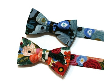 Boys Garden Party Floral Bow Ties~Boys Bow Tie~Cotton Bow Tie~Flower Bow Tie~Church Tie~WeddingTie~Ring Bearer~Peach~Pink~Green~Blue~Red