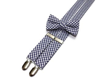 Boys Navy Blue Check Suspenders~Wedding Suspenders~Wedding Accessory~Boys Suspender Set~Gingham~Matching Bow Tie and Suspenders