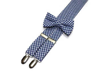 Boys Nautical Blue Check Suspenders~Wedding Suspenders~Wedding Accessory~Boys Suspender Set~Gingham~Matching Bow Tie and Suspenders