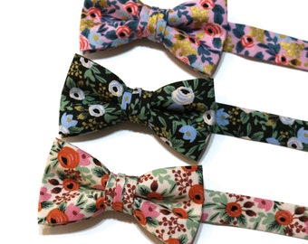Boys Rosa Floral Bow Ties~Boys Bow Tie~Cotton Bow Tie~Flower Bow Tie~Church Tie~WeddingTie~Ring Bearer~Black~Pink~Green~Pink~Sage~Rose~Red
