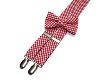 Boys Red Check Suspenders~Wedding Suspenders~Wedding Accessory~Boys Suspender Set~Gingham~Matching Bow Tie and Suspenders