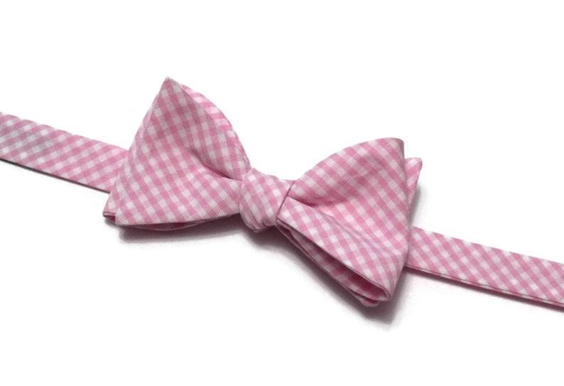 Bubblegum Pink Gingham Check Bow Tie~Mens Self Tie Bow Tie~Cotton Tie~Mens Bow Tie~Gingham Bow Tie~Groom~Groomsmen~Anniversary Gift~Plaid