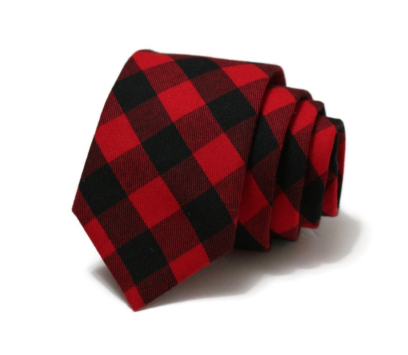 Buffalo Plaid Mens Necktie~Cotton Necktie~Red and Black Necktie~Buffalo Check~Buffalo Check~Christmas Tie~Valentines Day Gift~House of Wales