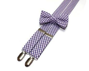 Boys Purple Check Suspenders~Wedding Suspenders~Wedding Accessory~Boys Suspender Set~Gingham~Matching Bow Tie and Suspenders