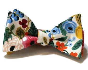 Cream Garden Party Floral Bow Tie~Floral Tie~Mens Self Tie~Mens PreTied~Anniversary Gift~Flower Tie~Cotton Bow Tie~Wedding~Large Wildwood