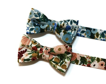 Boys Garden Party Floral Bow Ties~Boys Bow Tie~Cotton Bow Tie~Flower Bow Tie~Church Tie~WeddingTie~Ring Bearer~Peach~Pink~Green~Blue~Rose