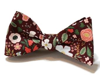 Burgundy Wild Rose Floral Bow Tie~Mens Self Tie Bow Tie~Mens PreTied~Anniversary Gift~Flower Tie~Cotton Bow Tie~Wedding Tie~Coral~Sage~Pink