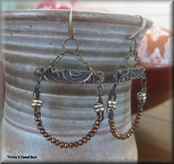 a06eeaabb85b KIT botín de cristal Pendientes abalorios bronce Kit oscuro