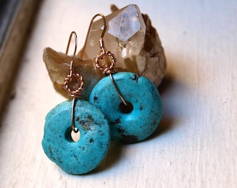 Genuine Turquoise Earrings - Wire Wrapped Turquoise Earrings - Rose Gold Turquoise Earrings -  Rose Gold Fill Turquoise Earrings - Donut