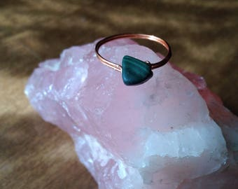 Malachite Ring Size 7.5 Wirewrapped with Natural Copper - Goddess, Ecofriendly, Fair Trade, Woman's, Spiritual