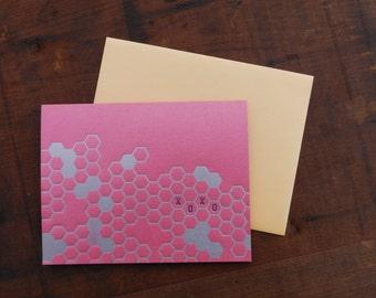 Letterpress XOXO Honeycomb Notecard