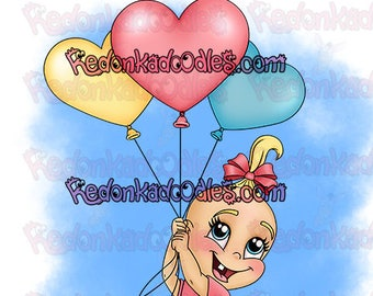 Digital Stamp - Baby Balloon Girl, Uncoloured Image for Handmade Greeting Cards