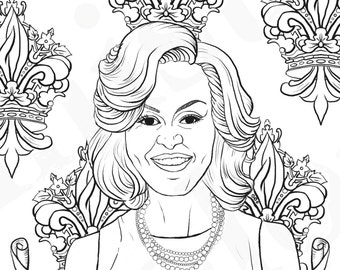 Michelle Obama, First Lady, Feminist Coloring, Portraits, Coloring Pages for Adults, Colouring Pages, PDF, Printable