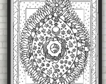 Manuscript illumination from Scivias (Know the Ways) by Hildegard of Bingen, Coloring Pages for Adults, Coloring Sheets, PDF, Printable
